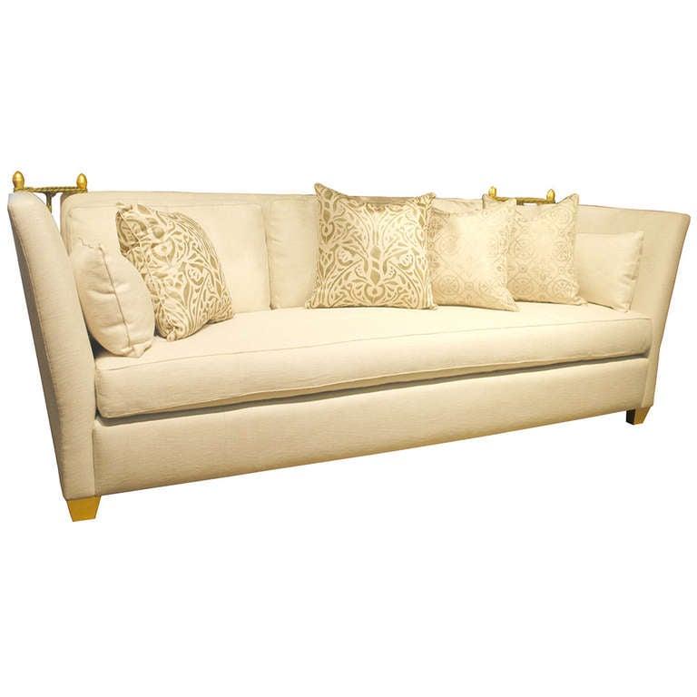 Contemporary Sofa Sale: Custom Contemporary Knole Sofa With Giltwood Finials For