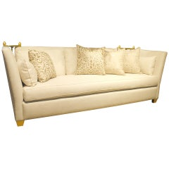 Custom Contemporary Knole Sofa with Giltwood Finials