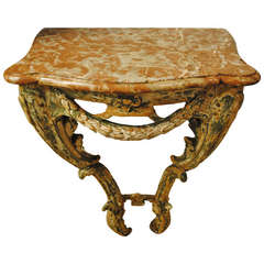 Wood and Marble Console