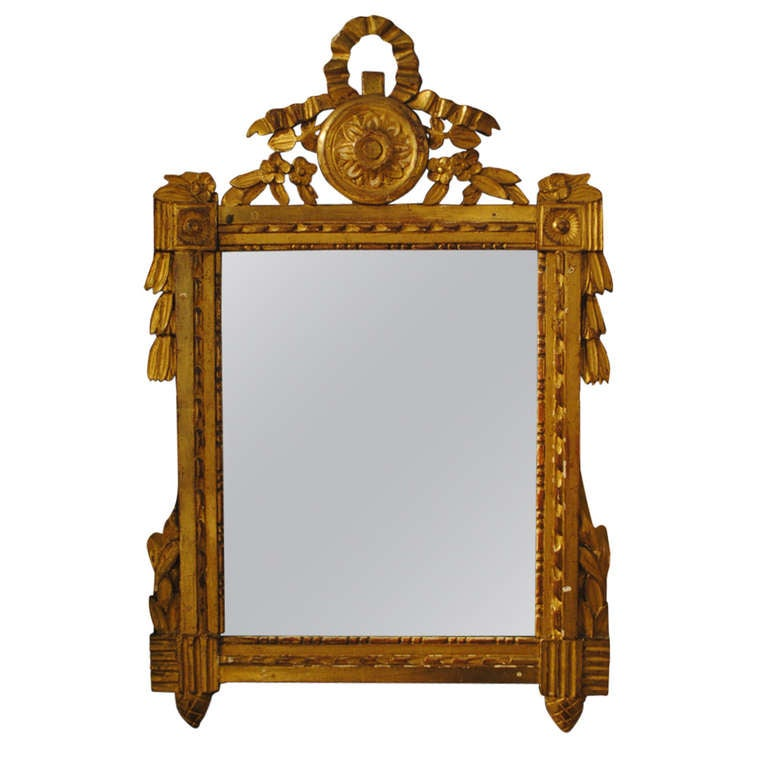 19th Century Ribbon Carved Giltwood Mirror
