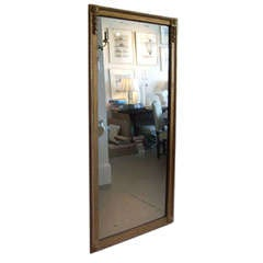 Large Scale Giltwood Mirror With Block Corners