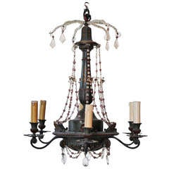 Green painted wooden chandelier w/ beads