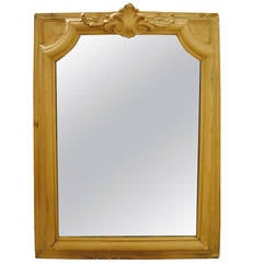 19th Century French Oak Painted Mirror with Crest