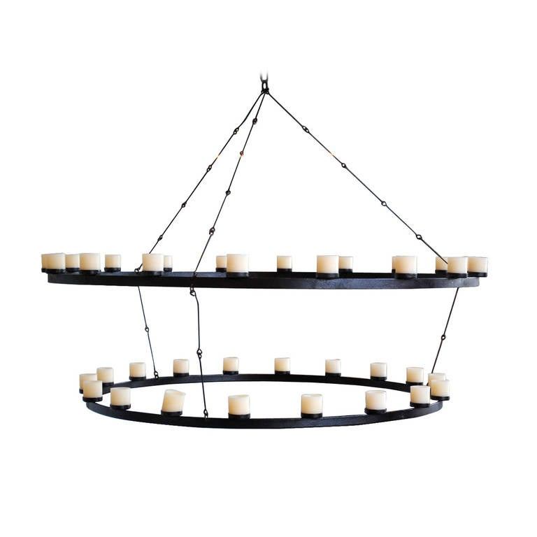 Large Double Ring Chandelier At 1stdibs: Double Iron Ring Chandelier At 1stdibs