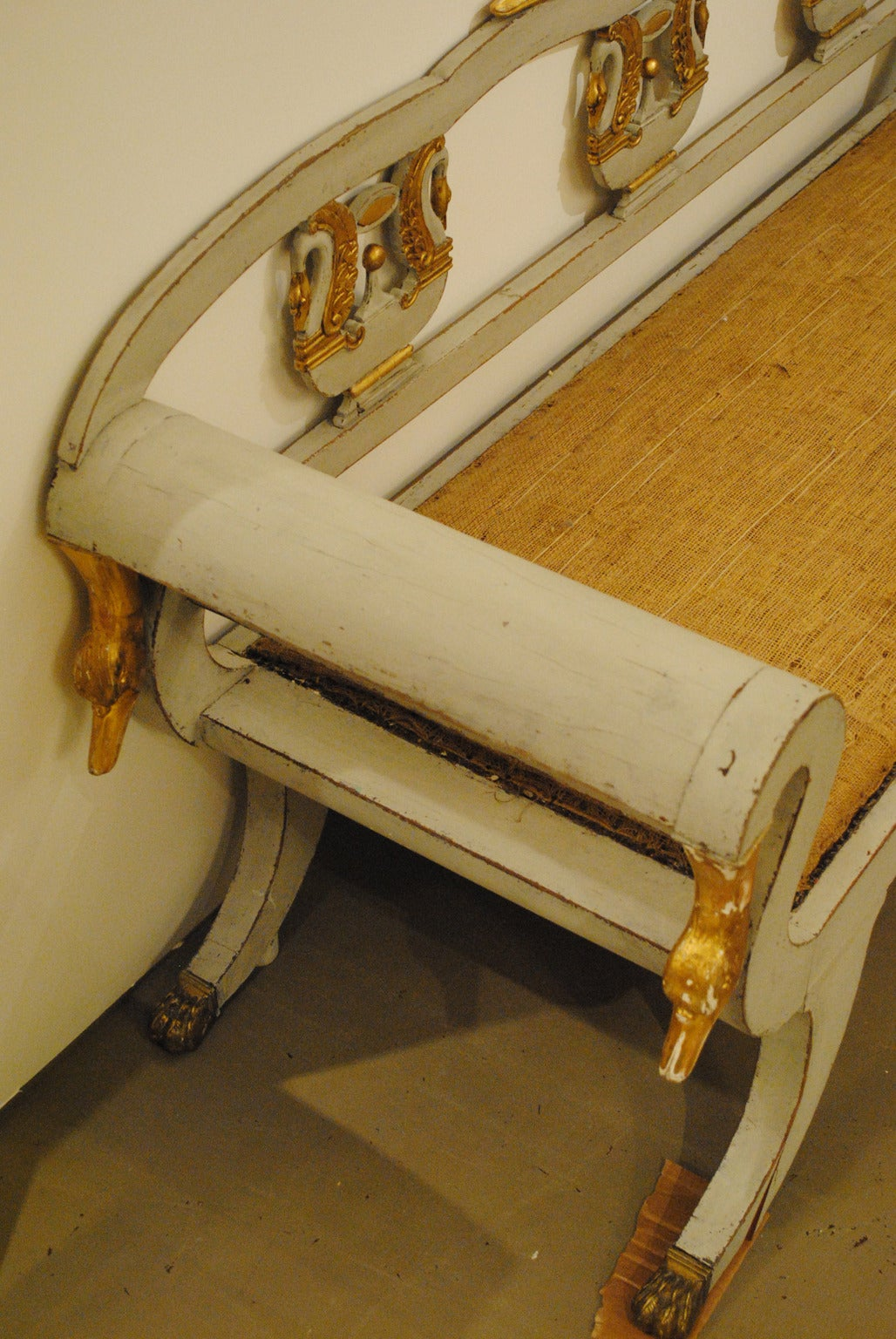 Early 19th Century Rare Russian Bench with Gilded Carvings In Good Condition For Sale In Boston, MA