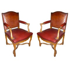 Pair of 20th Century Louis XIV Style Red Leather Armchairs