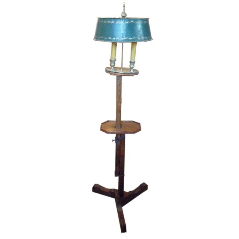 19th Century Adjustable Wooden Floor Lamp