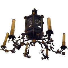 French Tole Chandelier with Lantern