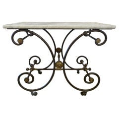 19th Century Marble-Top Bakers Table
