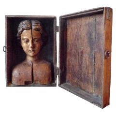 18th Century Rare Polychrome Carved Head Mounted in Box