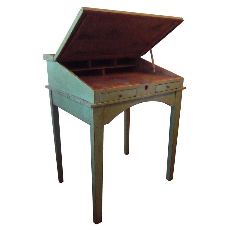 Green Slant Top Scribes Desk At 1stdibs