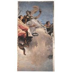 """Large Fresco """"Rezzonico"""" on Gessoed Canvas"""