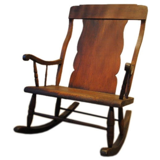 Large wooden rocking chair at 1stdibs for Big chairs for sale