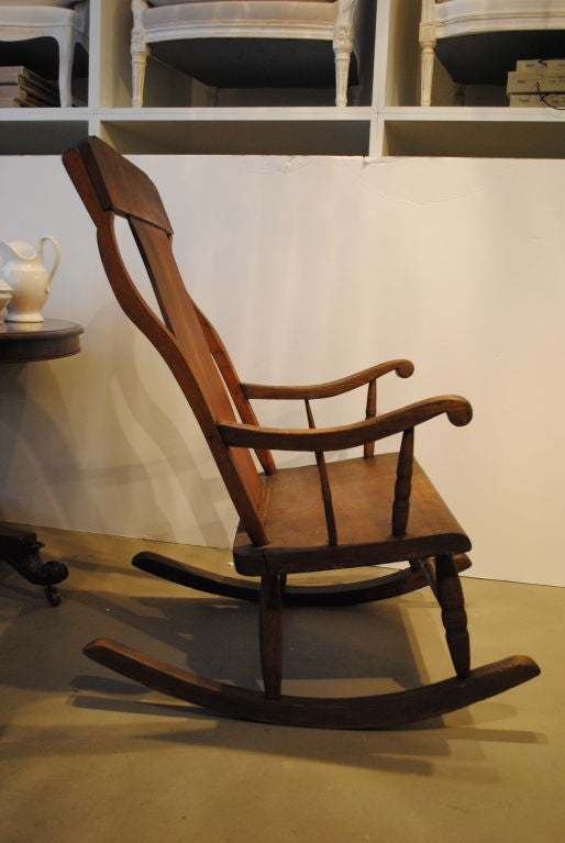 large wooden rocking chair at 1stdibs