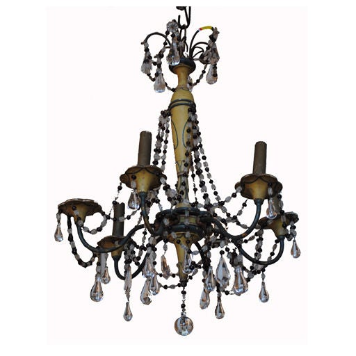 French 19th Century Six Arm Iron & Wooden Chandelier For Sale