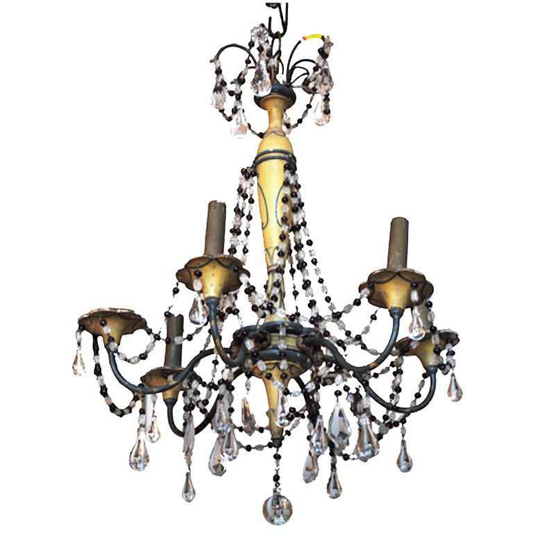 19th Century Six Arm Iron & Wooden Chandelier For Sale