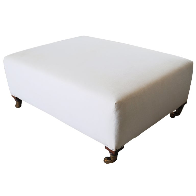 Low Upholstered Ottoman on Casters