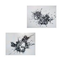 Pair of Mark Schoening Splatter Paintings