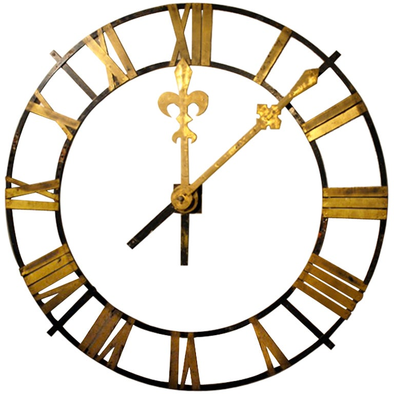 Large Scale Wrought Iron Clock Face At 1stdibs