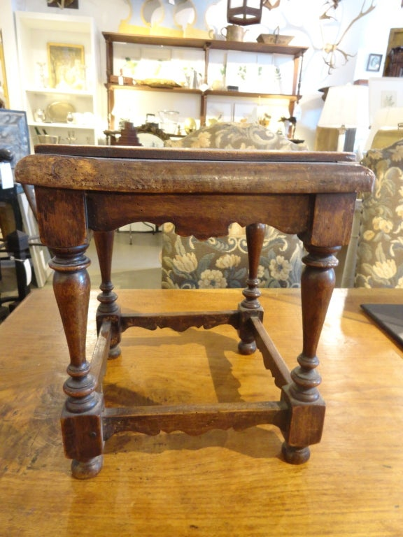Pair Of Small Oak Stools With Carved Aprons At 1stdibs