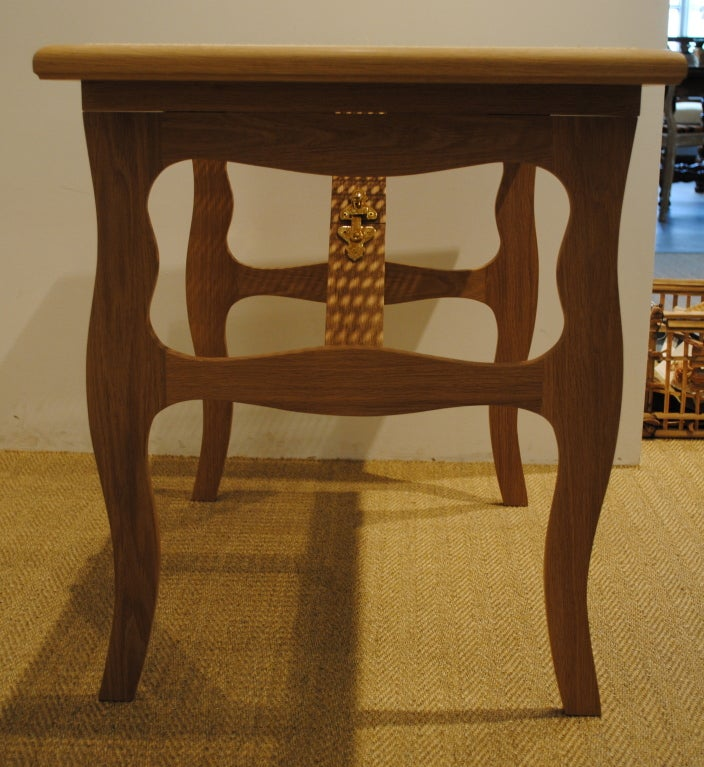 American Cane Top Folding Tea Table For Sale