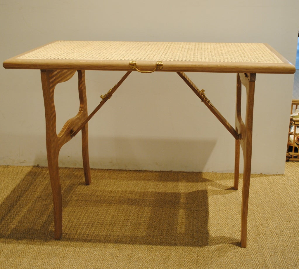 Cane Top Folding Tea Table In New Condition For Sale In Boston, MA