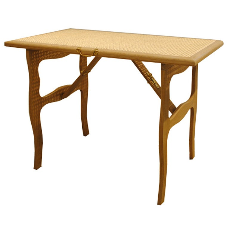 Cane Top Folding Tea Table For Sale