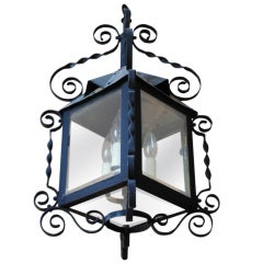19th Century Four-Sided Arts & Crafts Iron Lantern