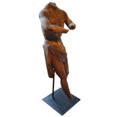 18th Century Carved Walnut Figure on Stand