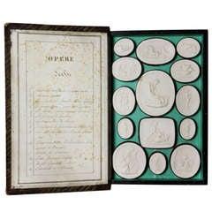 Italian Book Form Box of Plaster Intaglios