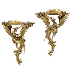 Pair of George III Giltwood Wall Brackets