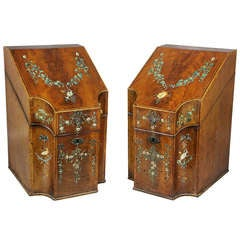 Pair Of George III Mahogany And Painted Knife Boxes