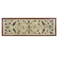 EARLY ENGLISH SILK AND GOLD EMBROIDERED PANEL