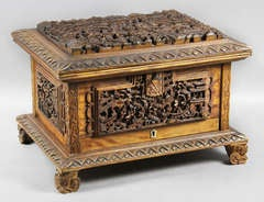 Chinese Carved Hardwood Jewelry Box