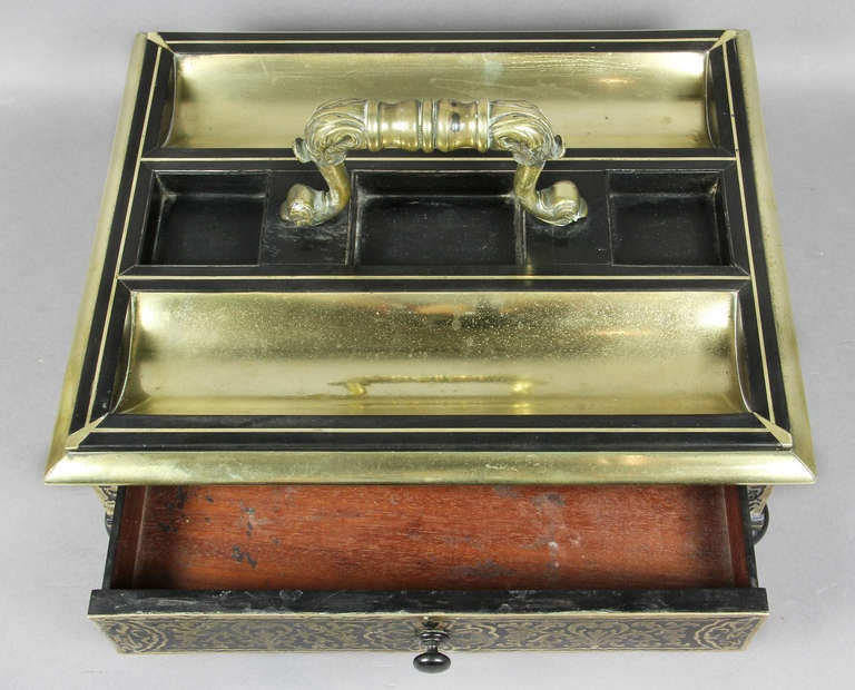 Regency Ebony And Brass Inkstand In Good Condition For Sale In Essex, MA