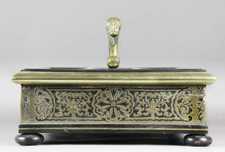 Regency Ebony And Brass Inkstand For Sale 2