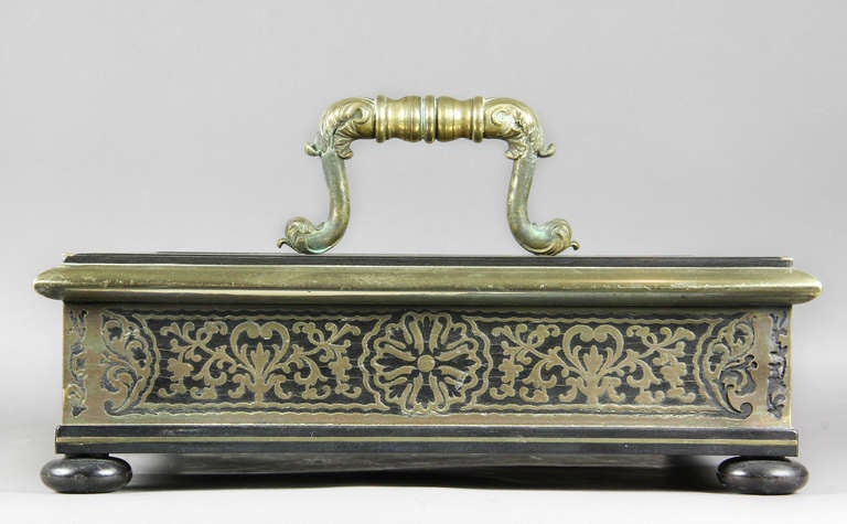 Regency Ebony And Brass Inkstand For Sale 4