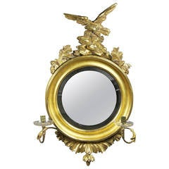 Regency Giltwood Girondole Convex Mirror
