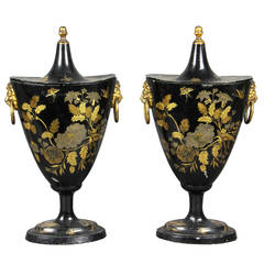 Pair of Regency Tole Black Japanned and Gilded Chestnut Urns