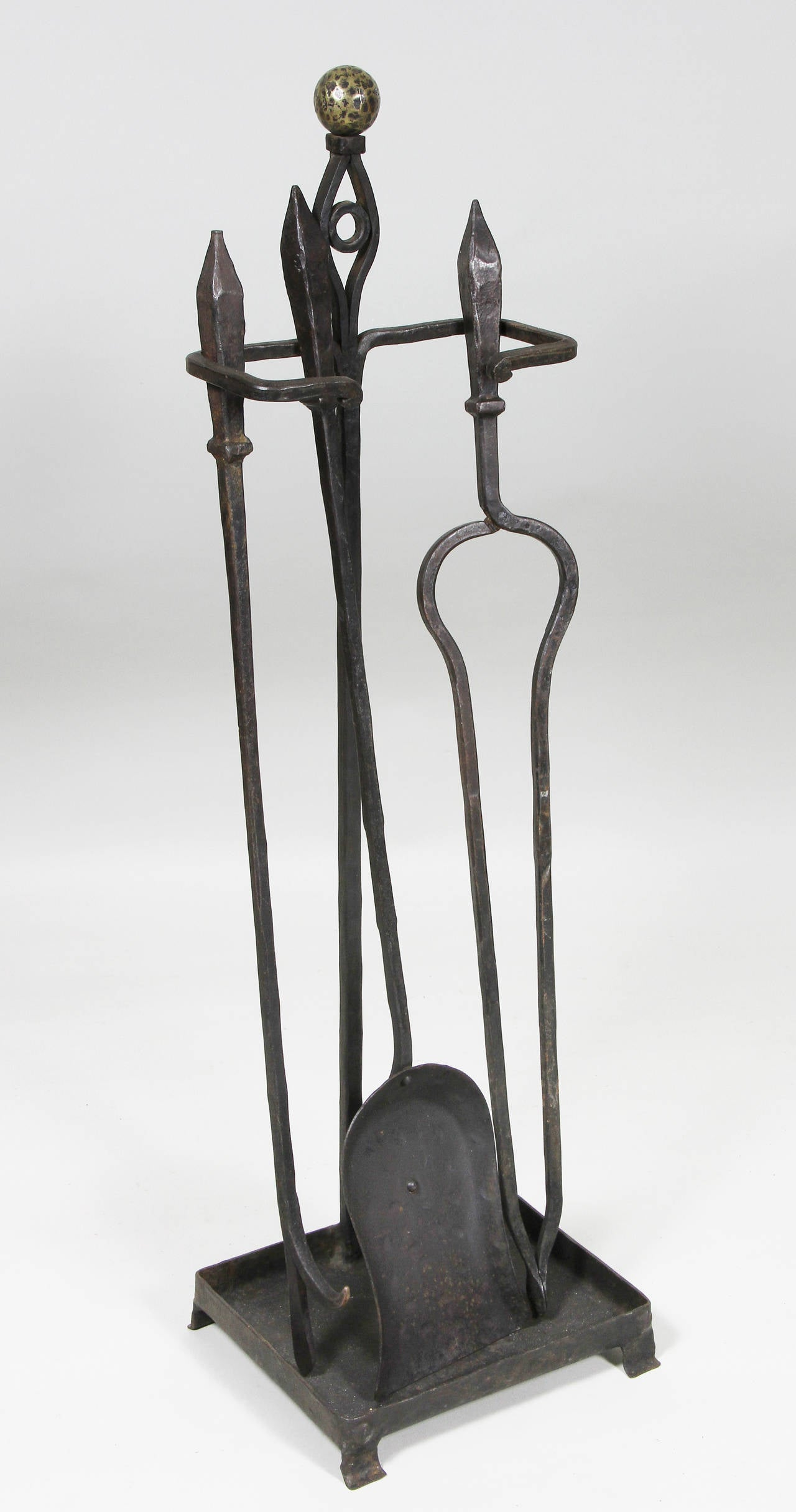 Set Of Arts And Crafts Wrought Iron Fireplace Items At 1stdibs
