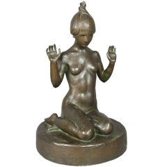 Art Deco Bronze of a Nude Young Woman