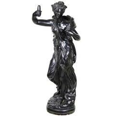 Regency Ebonized Plaster Figure of a Classical Maiden