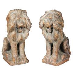 Pair of Italian Verona Marble Lions