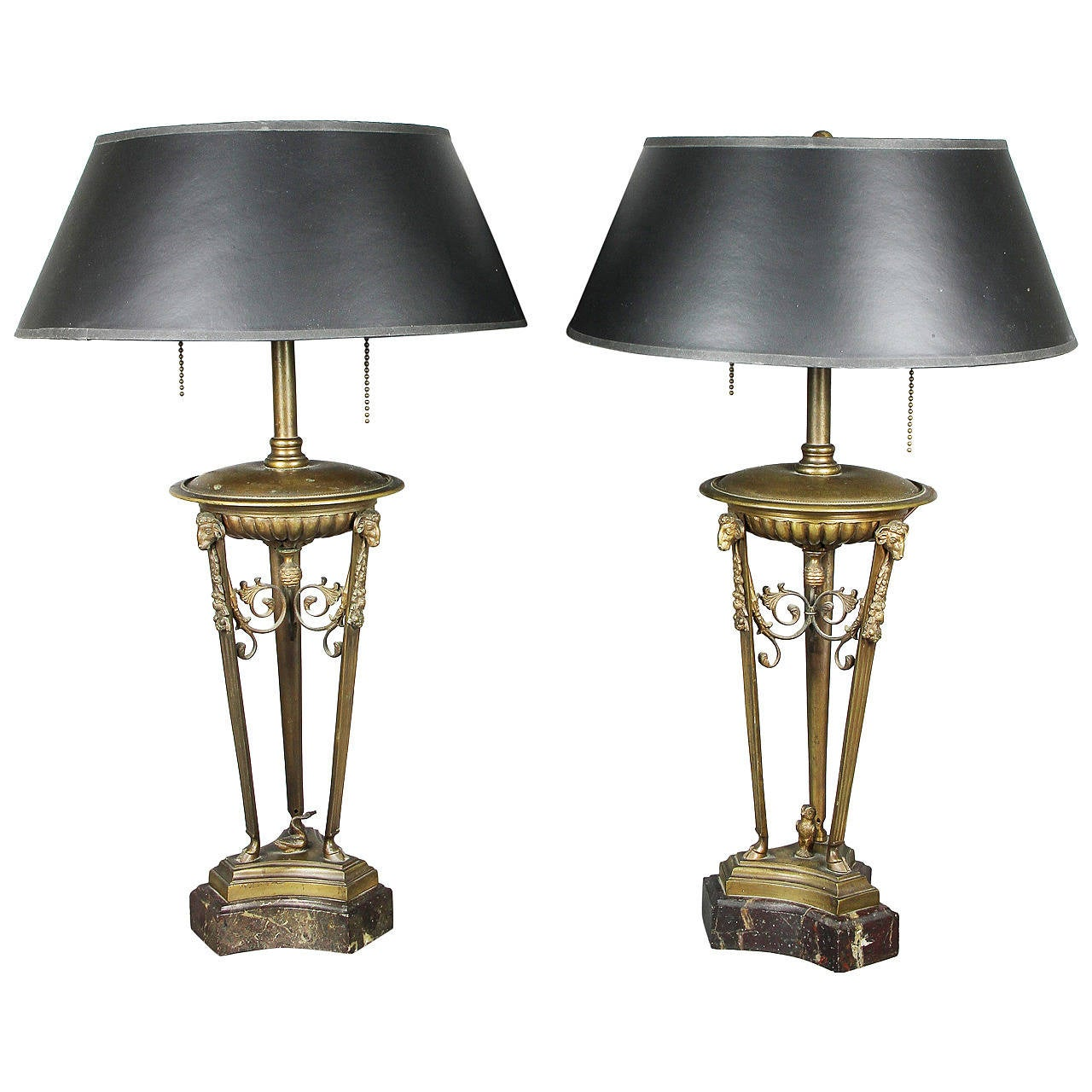 Pair of Neoclassical Style Bronze Table Lamps