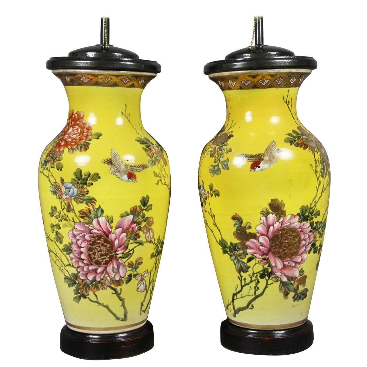 Pair of Japanese Pottery Vases Mounted as Lamps