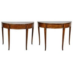 Pair of Italian Neoclassical Walnut Demilune Console Tables