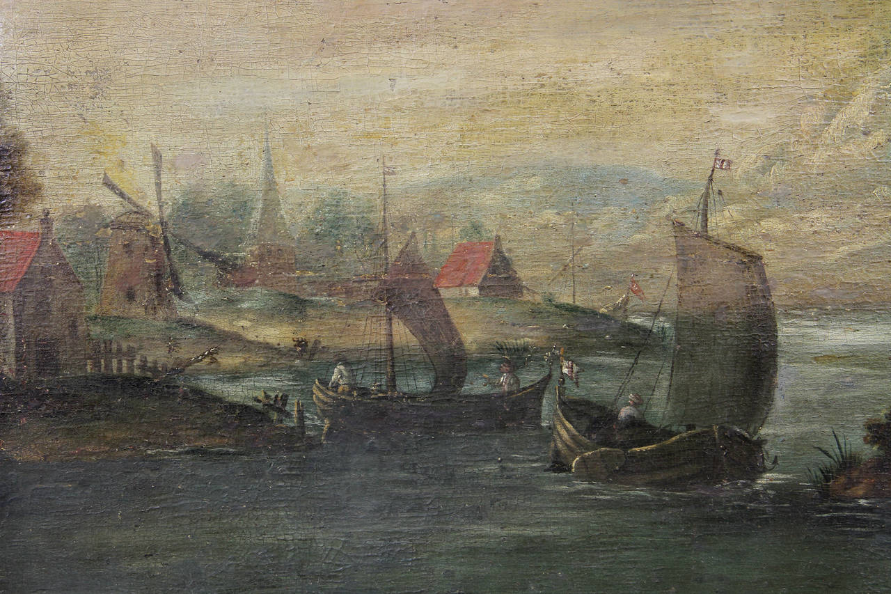 Depicting a boat or barge filled with people in a harbor setting with buildings. Indistinctly signed.