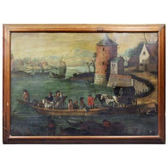 Flemish Oil on Canvas Painting of a Boat in Harbor