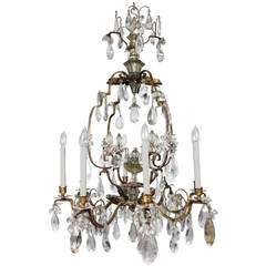 French Rock Crystal and Gilt Metal Chandelier