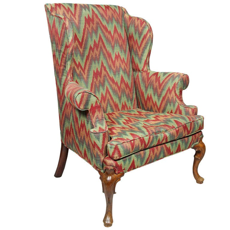 Queen Anne Walnut Wing Chair at 1stdibs